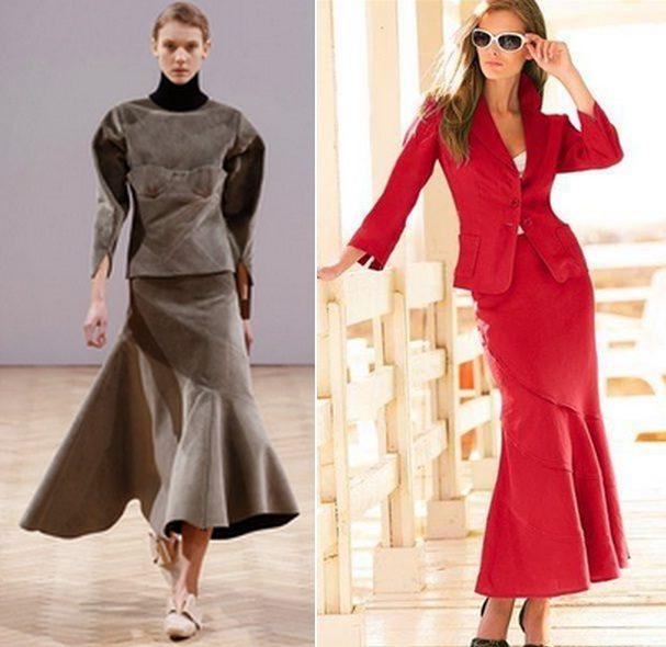 Черная юбка годе с чем носить