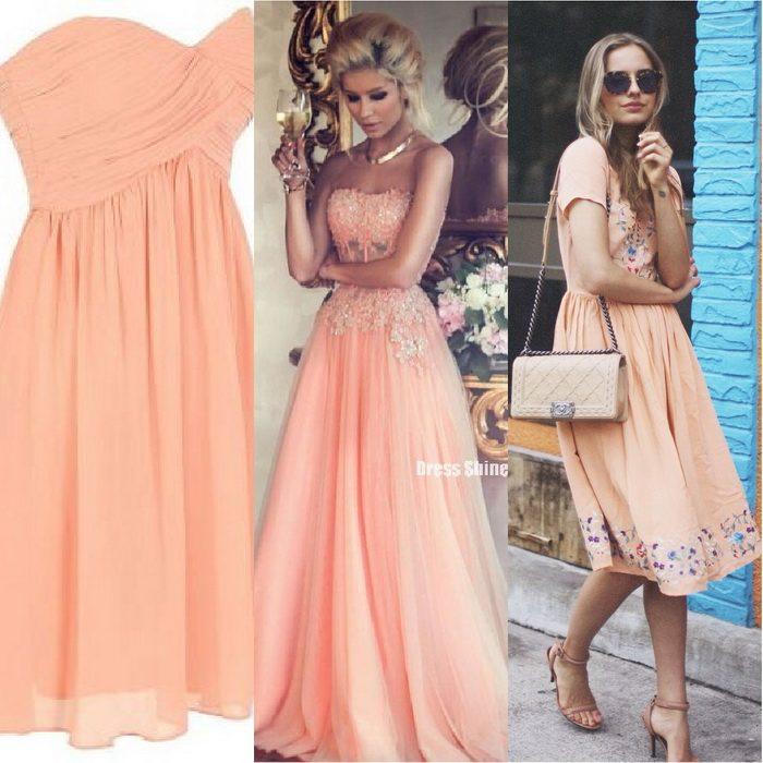 Мятно персиковое платье