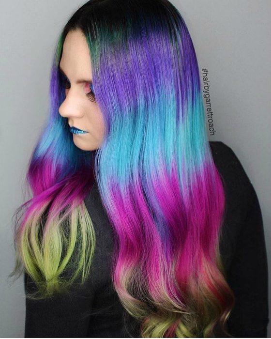 Растяжкам цвета волос фиолетовая
