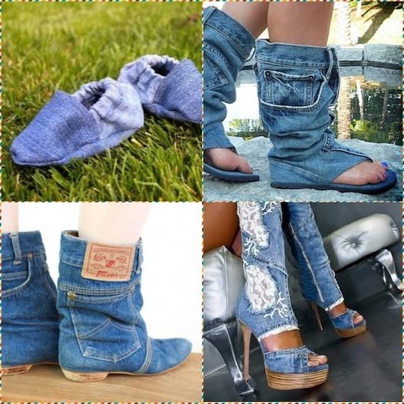 Как сделать обувь из джинсовой