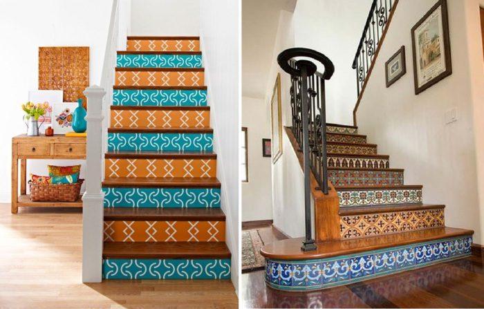 Как оригинально украсить подступени лестницы