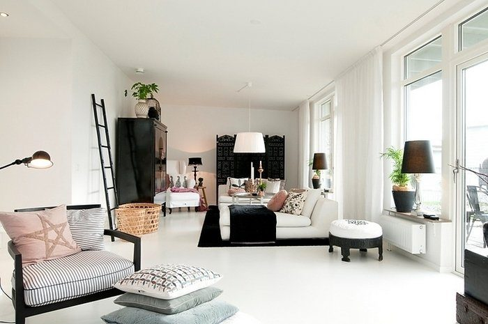 Grey pink white bedroom