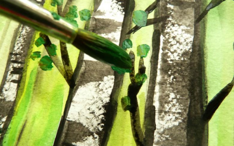 Рисуем березовую рощу