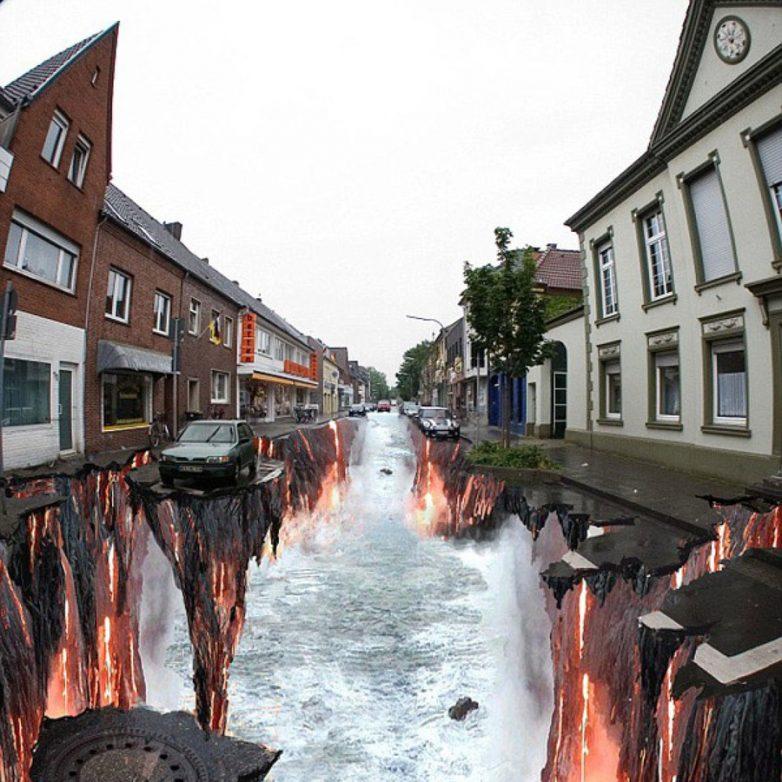 Шикарные 3D-рисунки на асфальте, которые стали современными достопримечательностями