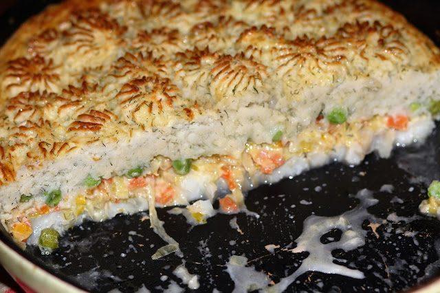 Картофельная запеканка с рыбным филе