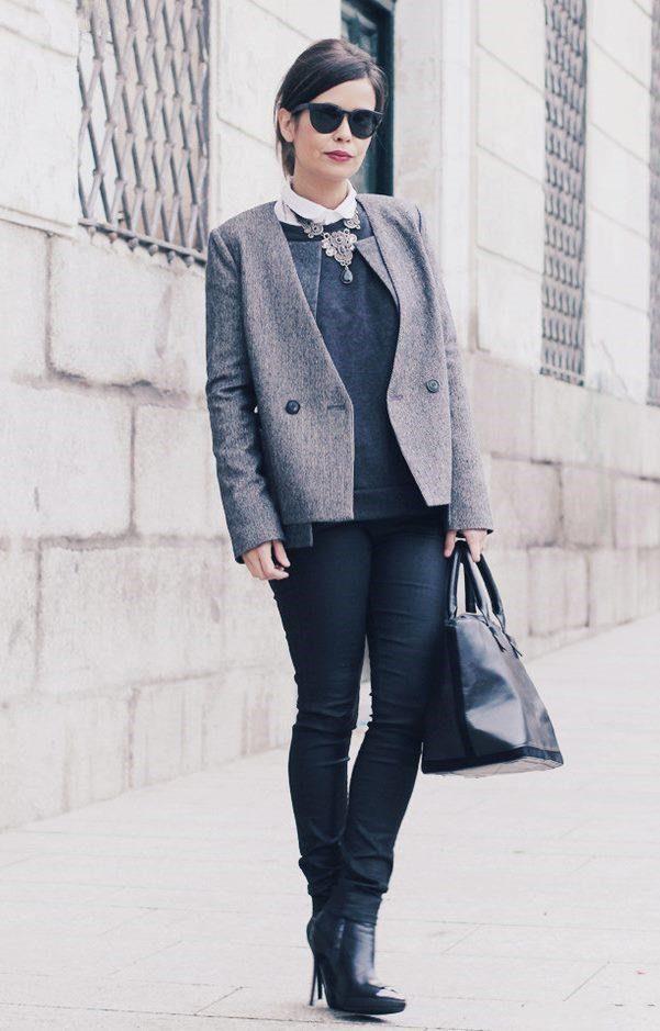 с чем носить серый пиджак женский фото описание состав применяемых