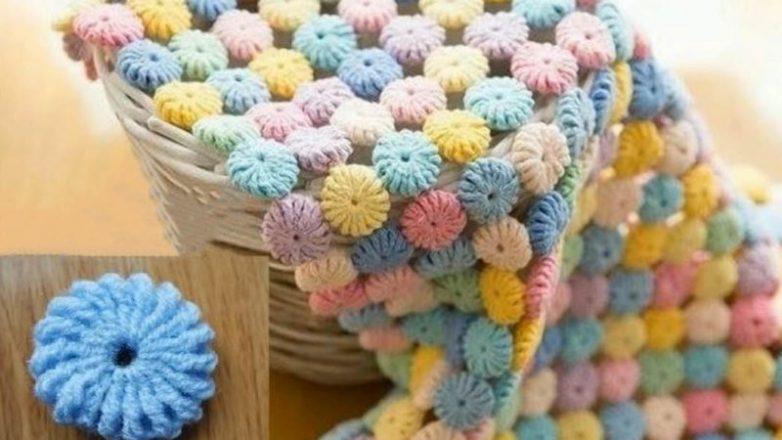 Красивое одеяло вязаное крючком