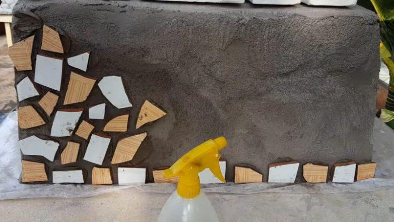 Идея декора сада из пластиковой корзины