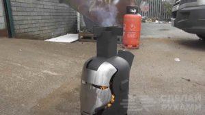 Уличная печка из металлической бочки