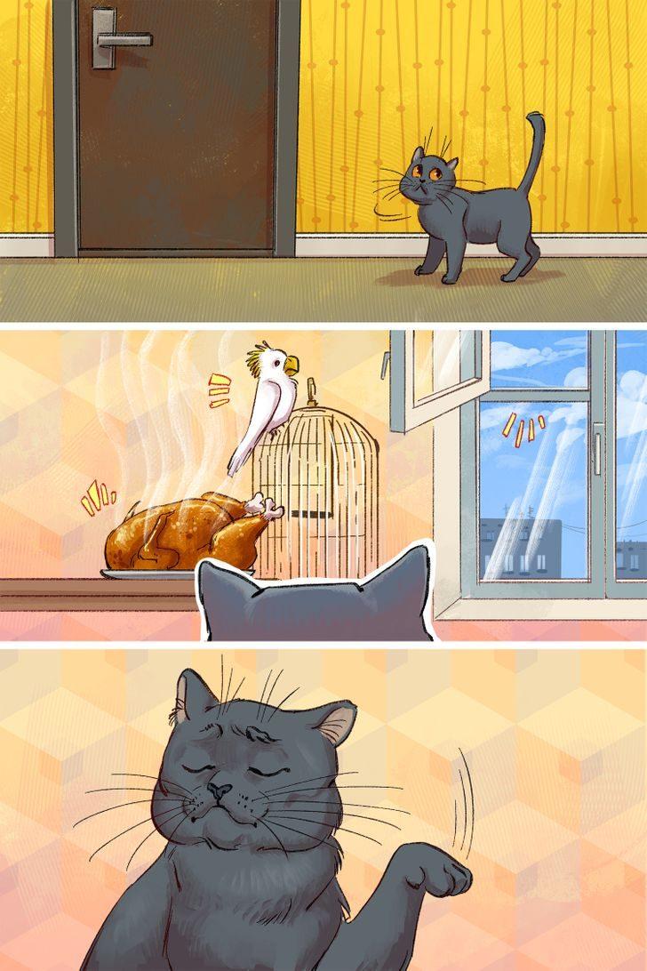 Чем занимаются коты, пока хозяев нет дома